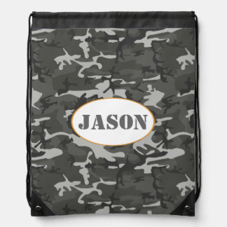 Very Cool Military Style Urban Camo With name tag Drawstring Bag