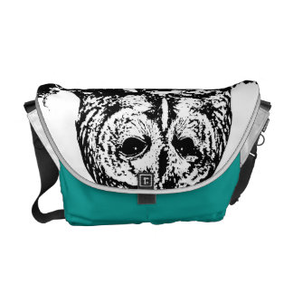 Very cool monochromatic black & white graphic owl courier bags