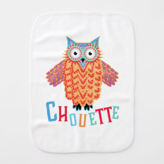 Very Cool Owl French Pun Baby Burp Cloth