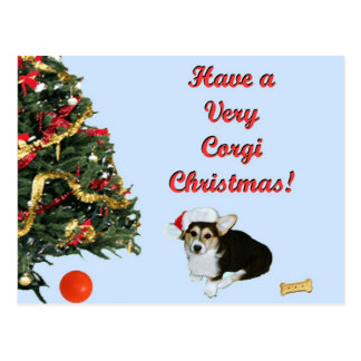 Very Corgi Christmas Gimli Blue Postcard