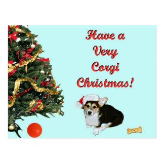 Very Corgi Christmas Gimli Turquoise Postcard