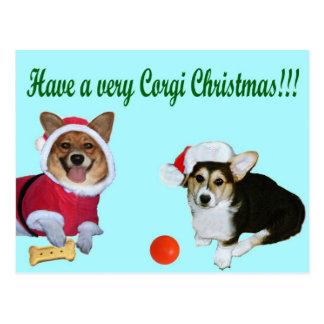 Very Corgi Christmas M & G Turquoise Postcard