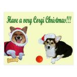 Very Corgi Christmas M & G Yellow Postcard