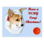 Very Corgi Christmas Pip Postcard-Blue