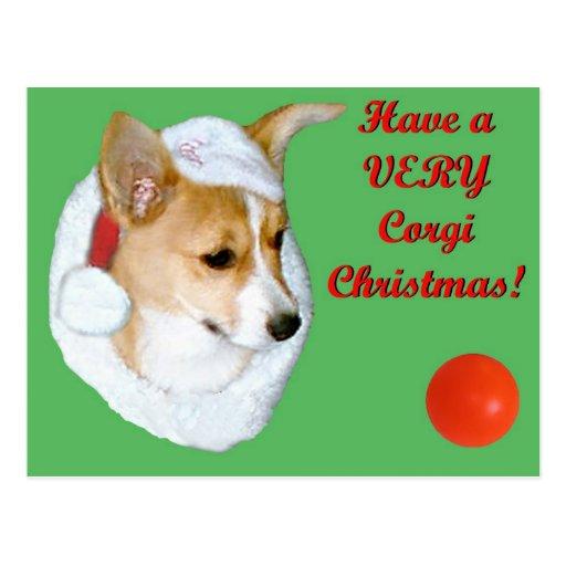 Very Corgi Christmas Pip Postcard-Dk Green