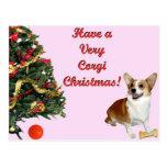 Very Corgi Christmas-Smiling Dott Pink Postcard