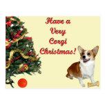 Very Corgi Christmas Smiling Dott Yellow Postcard