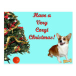 Very Corgi Christmas-SmilingDott Turquoise Postcar Post Card