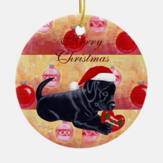 Very Cute  Black Labrador Puppy Christmas Christmas Ornaments