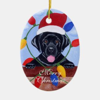 Very Cute  Black Labrador Puppy Christmas Christmas Tree Ornaments