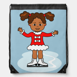Very Cute Cartoon Ice Skater Drawstring Backpack