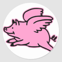 Very Cute Flying Pink Pig Classic Round Sticker