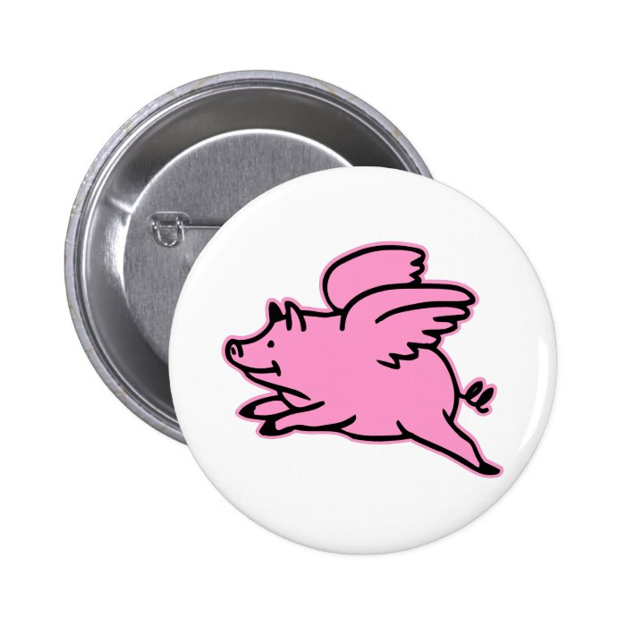 Very Cute Flying Pink Pig Pinback Button