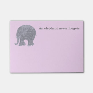 Very cute gray doodle elephant on pink post-it notes