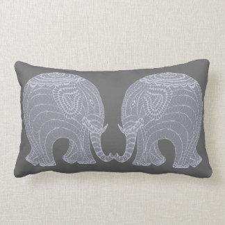 Very cute gray doodle elephants lumbar pillow