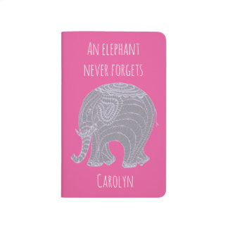Very cute grey doodle elephant - personalised journal