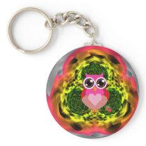 Very Cute Owl Heart Button Keychain