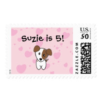 Very Cute Pink Hearts Terrier Postage