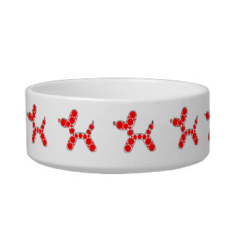 Very Cute Red Balloon Dog Design Pet Bowl