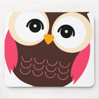 Very Cute Retro Girl Owl Mouse Pad