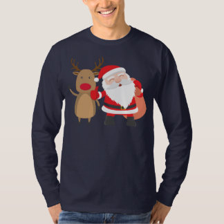 Very Cute Santa Claus and Reindeer   Sleeve Shirt