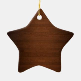 Very Dark Hard Wood Floor Grain Ceramic Ornament