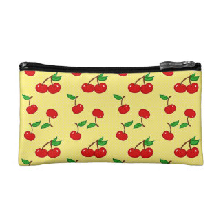 Very Dotty Cherry in Yellow Cosmetic Bag