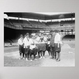 Very Early Women's Baseball Circa 1909 - 1923 Poster