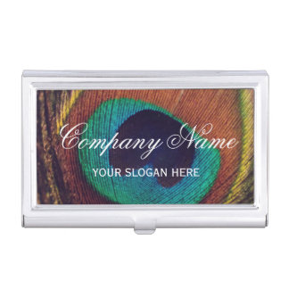 Very elegant colorful peacock feather custom business card case