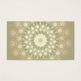 Very Elegant Shiny Gold Ornate Circle Motif Green Business Card