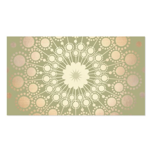Very Elegant Shiny Gold Ornate Circle Motif Green Business Cards