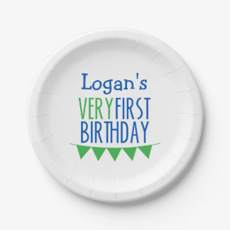 Very First Birthday Bunting Blue Green Cake Plates