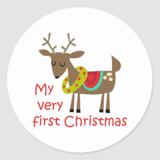 Very First Christmas Classic Round Sticker