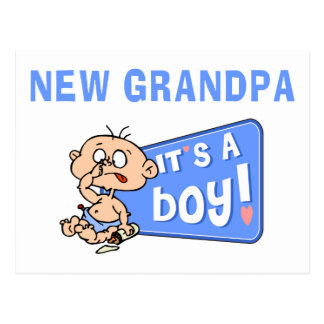 Very Funny It's A Boy New Grandpa Gift Postcard