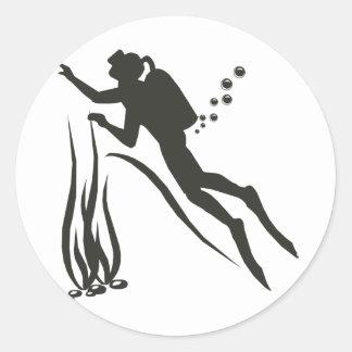 Very Funny SCUBA Diver Classic Round Sticker