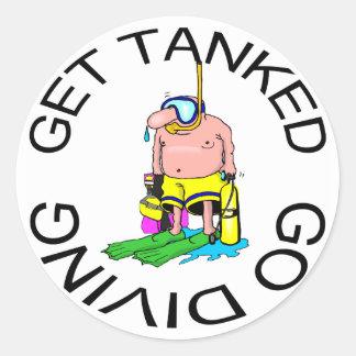 Very Funny SCUBA Diving Classic Round Sticker