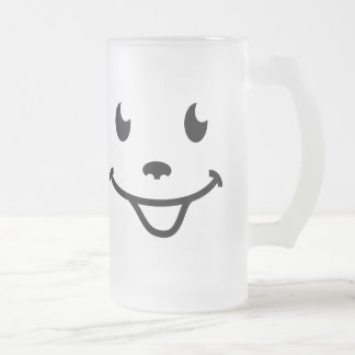 Very funny smiling face frosted glass beer mug