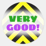 "[ Thumbnail: ""Very Good!"" + Black & Yellow Chevron-Like Pattern Round Sticker ]"