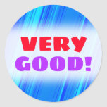 """[ Thumbnail: """"Very Good!"""" + Blue and Cyan Lines Pattern Sticker ]"""