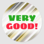 "[ Thumbnail: Very Good! + ""Earthy"", Rustic-Like Stripes Pattern Round Sticker ]"