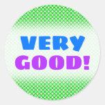 "[ Thumbnail: ""Very Good!"" + Green Dots/Circles Pattern Sticker ]"