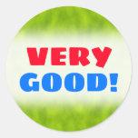 "[ Thumbnail: ""Very Good!"" + Green Mist/Haze/Fog-Like Pattern Round Sticker ]"
