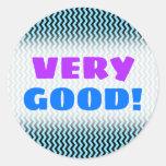 "[ Thumbnail: ""Very Good!"" + Light Blue & Black Wave Pattern Round Sticker ]"