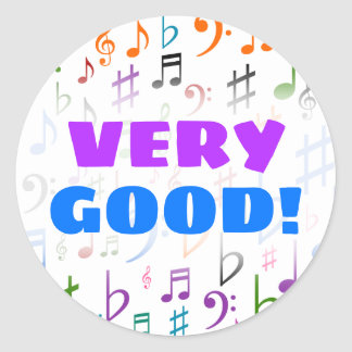 VERY GOOD! + Many Colorful Music Notes and Symbols Classic Round Sticker
