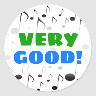 """""""VERY GOOD!"""" + Many Musical Notes Pattern Sticker"""