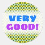 [ Thumbnail: Very Good!; Yellow and Green Diamond Shape Pattern Round Sticker ]