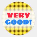 [ Thumbnail: Very Good!; Yellow and Orange Dots/Circles Pattern Round Sticker ]