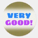 "[ Thumbnail: ""Very Good!"" + Yellow & Black Wavy Line Pattern Round Sticker ]"