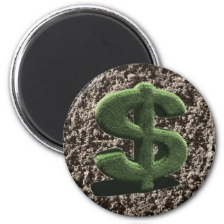 very grassy Dollar symbol 2 Inch Round Magnet