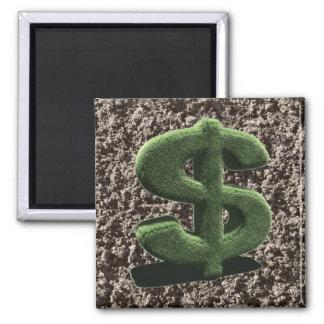 very grassy Dollar symbol 2 Inch Square Magnet